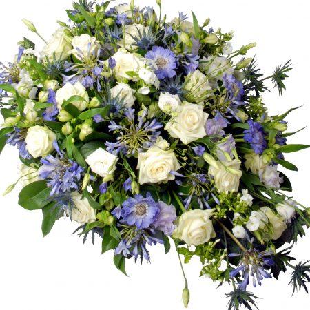 Rouwstuk ovaal blauw / paars / wit